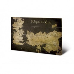 Cuadro Pequeño Madera 40X59 Game Of Thrones Westeros And Essos Antique Map