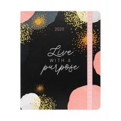 Agenda 2019/2020 Semana Vista Premium 17 Meses Glitter Gold Dreams