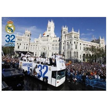 Postal A4 Real Madrid Jugadores En Autobus 2011/2012
