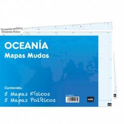 Pack 10 Mapas Mudos Es Oceania Politica Fisica