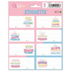 Etiquetas Escolares Carouge Blue & Pink Italiano