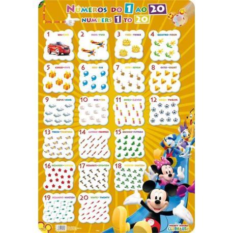 Lâminas Educativas Número 1-20 Mickey
