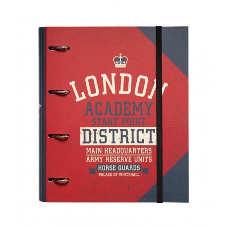 Carpeta 4 Anillas Troquelada Premium London Colour