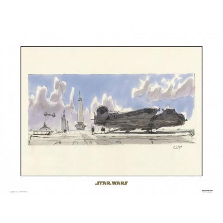 Print 30X40 Cm Star Wars Concept Art Millennium Falcon
