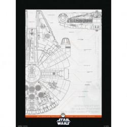 Print 30X40 Cm Star Wars Episodio IX Millenium Falcon Structure
