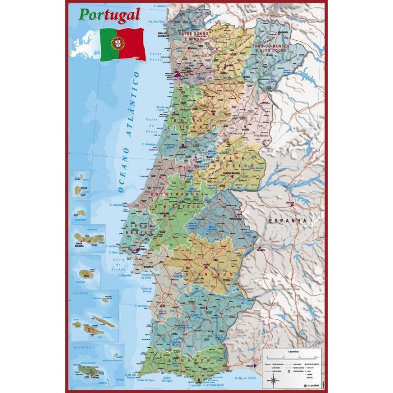 mapa de portugal tamanho a4 Poster Mapa Portugal de mejor calidad y precio en NosoloPoster. mapa de portugal tamanho a4