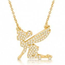 Colgante Disney Tinkerbell Silueta Oro Con Cristales
