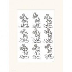 Print 30X40 Cm Disney Mickey Sketch