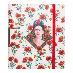 Carpeta 2 Anillas Troquelada Premium Frida Kahlo Flores