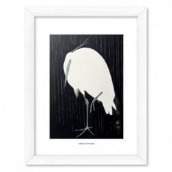 Print Enmarcado 30X40 Cm Egret In The Rain