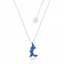 Colgante Disney Fantasia Mickey Silueta Azul Baño De Oro Blanco