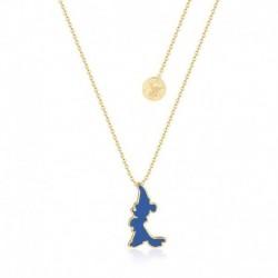Colgante Disney Fantasia Mickey Silueta Azul Baño De Oro