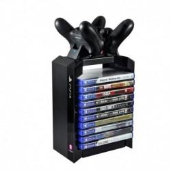 Torre Para Videojuegos Ps4 Y Cargador Dual Mandos