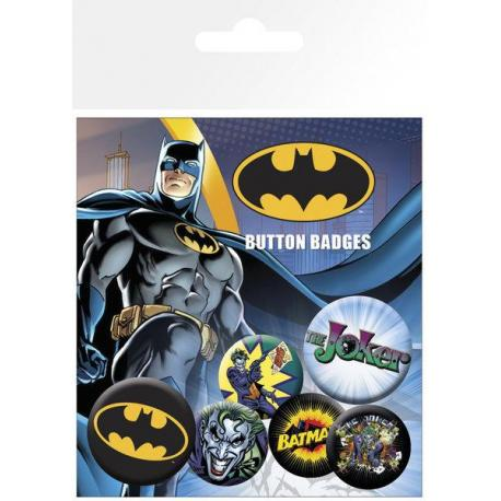 Pack de chapas Batman Comic Logo and Joker
