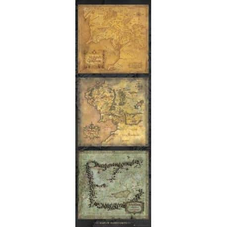 Poster puerta Lord Of The Rings Maps of Middle-Earth