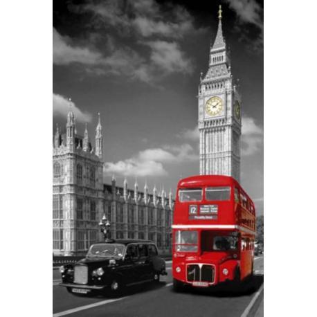 Poster Londres Autobus y Taxi