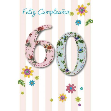 Tarjeta Felicitacion Feliz Cumpleaños 60
