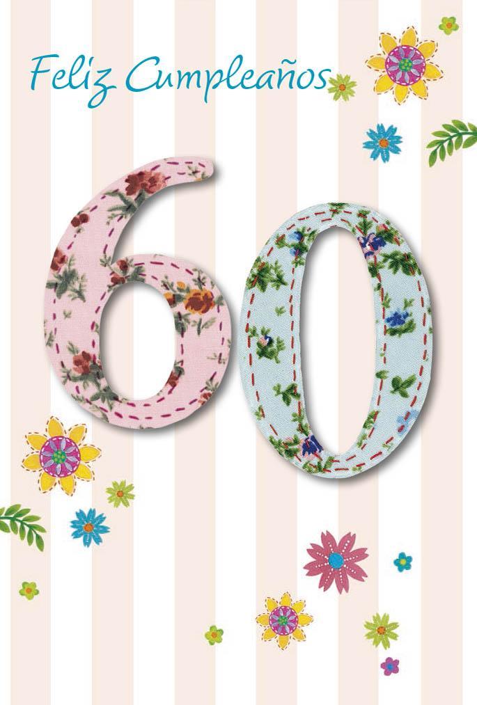 Tarjeta Felicitacion Feliz Cumpleaños 60 - Nosoloposters.com