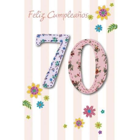 Tarjeta Felicitacion Feliz Cumpleaños 70