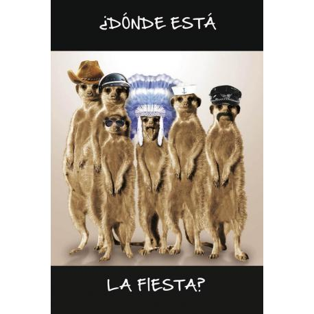 Tarjeta Felicitacion Donde Esta La Fiesta?