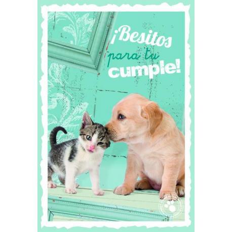 Tarjeta Felicitacion ¡Besitos Para Tu Cumple!