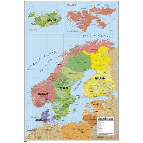 Maxi Poster Mapa Escandinavia
