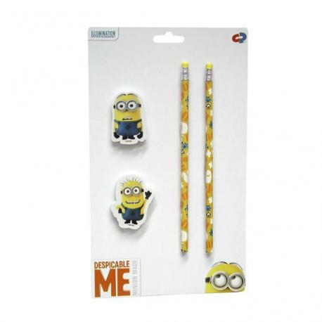 Set 2 lapices y 2 gomas Minions