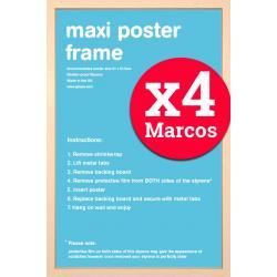 Pack de 4 marcos Haya maxi posters 61x91.5