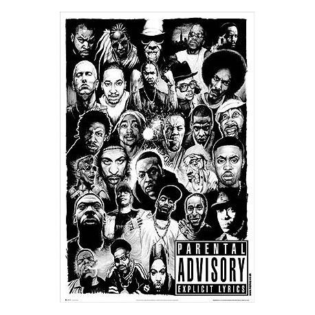 Poster Parental Advisory Blanco y Negro