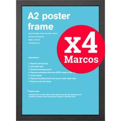 Pack de 4 marcos negros A2 42x59,4 cms