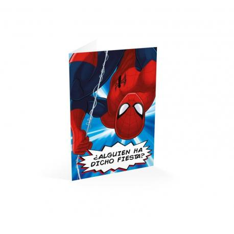 Tarjeta felicitacion ¿alguien ha dicho fiesta? Spiderman