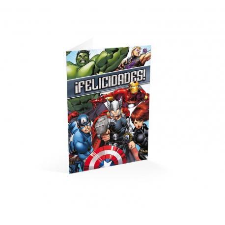 Tarjeta felicitacion ¡felicidades! Marvel avengers assemble