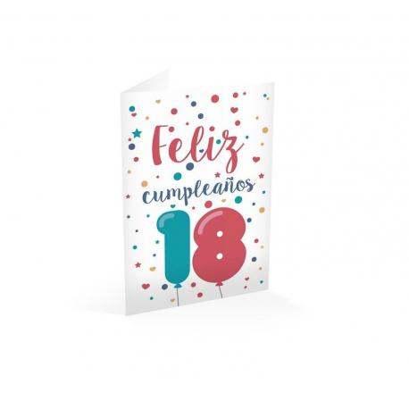 Tarjeta felicitacion feliz cumpleaños 18