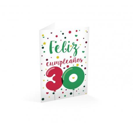 Tarjeta felicitacion feliz cumpleaños 30