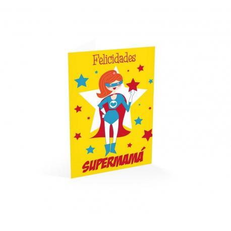 Tarjeta felicitacion ¡felicidades! Supermama