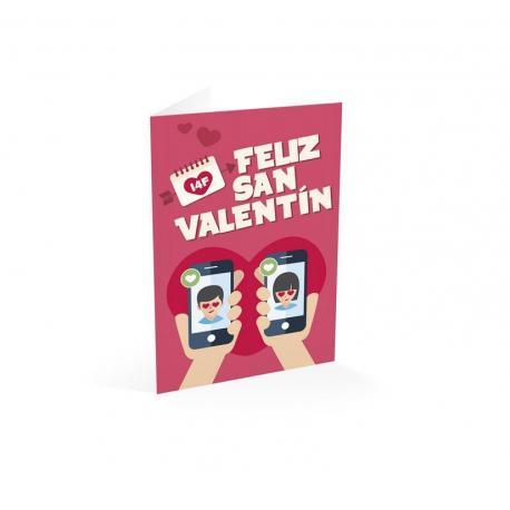 Tarjeta felicitacion feliz San Valentin