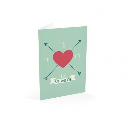 Tarjeta felicitacion tu & yo feliz San valentin