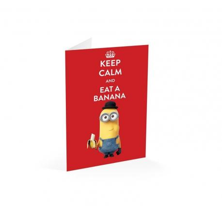Tarjeta felicitacion Minions keep calm and eat a banana