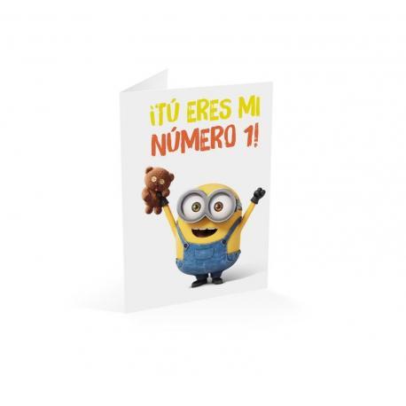 Tarjeta felicitacion Minions tu eres mi numero 1