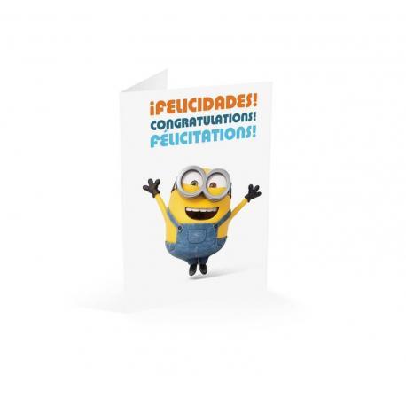 Tarjeta felicitacion Minions felicidades