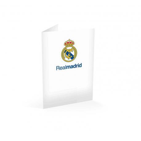 Tarjeta felicitacion a4 Real Madrid blanco