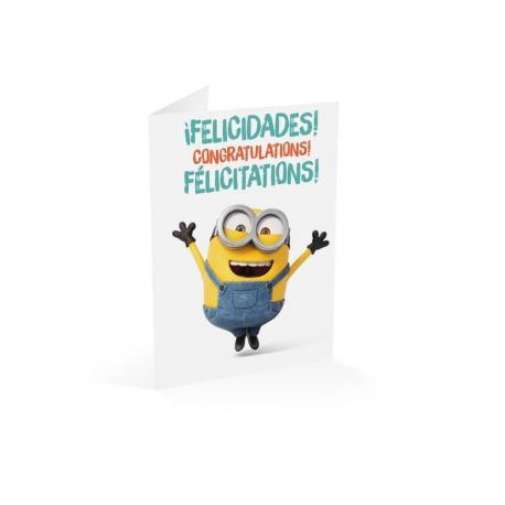 Tarjeta felicitacion a4 Minions