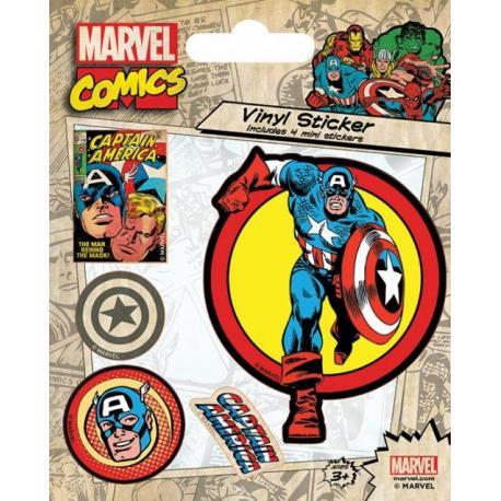 Pegatina vinilo Marvel Retro Capitan America