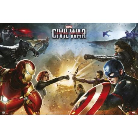 Poster Capitan America Guerra Civil Equipos
