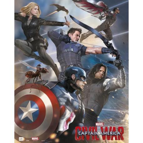 Mini Poster Capitan America Guerra Civil Equipo Capitan America