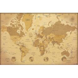 Maxi Poster Mapa del Mundo Vintage