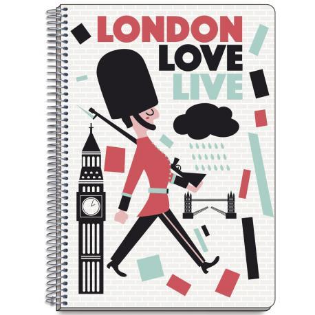 Cuaderno Tapa Dura A5 Cuadrícula Colores de Londres