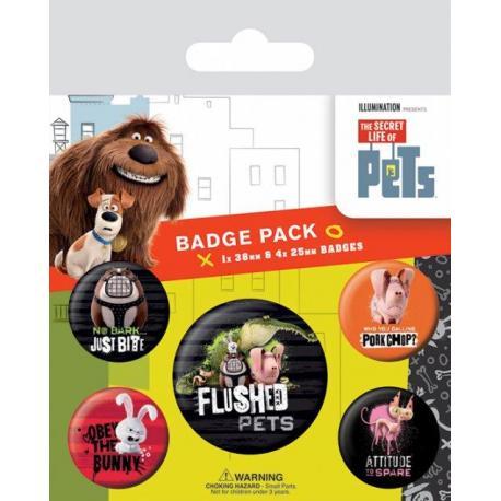 Pack de Chapas La Vida Secreta de las Mascotas (Flushed Pets)